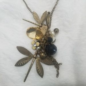 """Jewelry - Dragonfly flower beads 15"""" long chain necklace"""